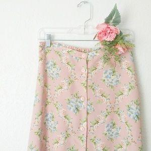 80-90s Vintage Blush Floral Button Down Midi Skirt